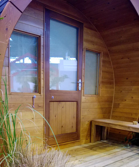 cocoon camping pod exterior